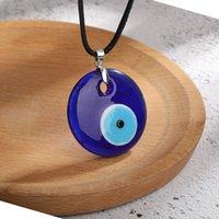 Antiguo profundo mar azul malvado ojo colgante collar turco gargantilla vidrio ojos cuero cuerda cadena joyería regalo