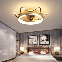 Ceiling Fans Modern Simple Fan Crystal Decorative LED Remote Control Lighting Bedroom Lamp Lights