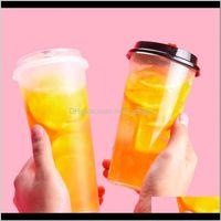 기타 식탁 주방, 식당 바지 정원 드롭 배달 2021 700ml 24oz 일회용 플라스틱 컵 차가운 음료 주스 커피 밀키 차 C