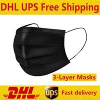 DHL бесплатно 3-7 дней для нас черные одноразовые маски для лица с эластичным контуром ушной петли 3 PLY дышащие для блокировки пыли воздуха противосвели