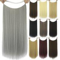 22 26 cms Gerade Schleife Micro Ring Haarverlängerungen Synthetische Hochtemperatur Seide Fisch Linie Weft 17 Farben FL016