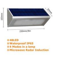 Außenanleger-Sicherheits-Sicherheits-Solarlampe mit Bewegungssensor Aluminiumlegierung Straße Porchlicht Lampada 48 LED 800lm wasserdicht