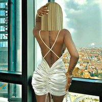 Cryptographic Fashion Sexy Backless Drawstring Ruched Women's Mini Bodycon Summer Sleeveless Short Es