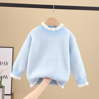 Pullover Winter 1-12 Year Old Children's Solid Color Sweater Girl's Lace Round Neck Top Baby Casual Loose Plush Thermal
