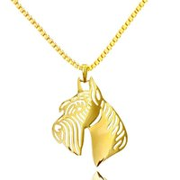 Pendant Necklaces Giant Schnauzer Cropped Ears Gold Color Dog Animal Charm Women Fashion Jewelry Wholesale