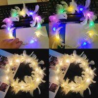 Aydınlık LED Tüy Çelenk Melek Peri Bandı Flaş Renkli Işıklar Ile Saç Band Düğün Doğum Günü Partisi Kulübü Headdress Gece Işığı Prenses Taç G61borh