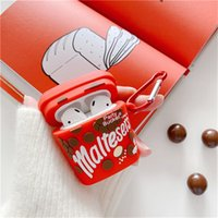 3D Cute Milk Flled Chocolate Snacks Anti-fall Headset Protective Cases Siicone For Apple Airpods 1 2 Pro Bluetooth Earphone Cover Case