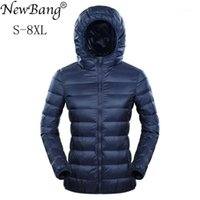 Newbang Brand 7XL 8XL пуховик с капюшоном с капюшоном ультра светло-нижней куртки Женщины плюс перо зима тонкие теплые ветровавые слои1