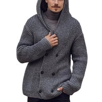 Men's Sweaters Fashion Men Sweater Jackets Autumn And Winter Double Breasted Cardigan Hooded Solid Color Long Sleeve Knitted Jacket