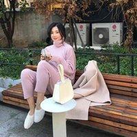 Frühling Winter gestrickte Trainingsanzug Rollkragen Sweatshirts Mode Frauen Anzug Kleidung 2 Stück Set Hose Weibliche 210419