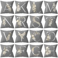 Cushion Decorative Pillow Decorative Cover 45x45 Letter Gray Cushion Polyester Throw White Yellow Flowers Pillowcase Nordic Home Decor