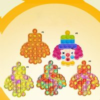 Clown Push Bubble Sensory Fidget Toy Stress Relief Desktop Puzzle Squeeze Decompression Toys for Child Anti-Stress Rainbow Colorful Fidgets Reliver