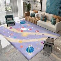 Teppiche Hohe Qualität Kinder Flanell Teppich Teppich Cartoon Rocket Planet Muster Für Baby Kind Spielrunde im Kinderzimmer
