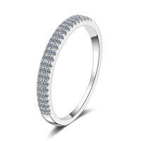 Anziw 925 Sterling Prata Moissanite Diamond 023ct Moda Dupla Row Metade Eternidade Anel de Noivado para Mulheres Presentes de Jóias