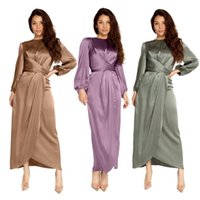 Satin Bandage Abaya Dubai Turquie Hijab Musulman Robe Inde Européenne Américaine Islam Robes africaines pour femmes