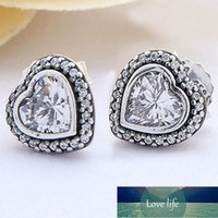 Original Sparkling Love Heart With Crystal Stud Earrings For Women 925 Sterling Silver Earring Wedding Gift DIY Europe Jewelry Factory price expert design Quality