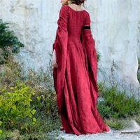 Robes décontractées pour femmes 2021 Automne hiver gothique rétro solide manches longues robes de robe maxi robe médiévale Vestido Longo