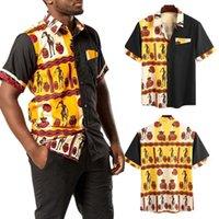 Camicia patchwork uomo estate manica corta risvolto Blusa uomo moda stampato sciolto camisa streetwear hombre chemise plus size camicie casual da uomo