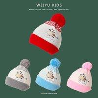 Caps Hüte 2021 geborene Baby Kinder GRILS Jungen Winter Warme Strickmütze Pelzige Bälle Pompom Stretch Ohr Massiv Nette Schöne Beanie Cap Geschenke