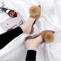 Luxurys Designers Shoes Womens Fur Slippers Spring Pointed Outside Low Fashion Woman Ladies Suede Leather Mules Toe Heels Jrhhv