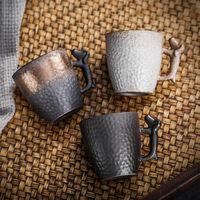 Handmade Dog Handle Ceramic Mini Mug 100ml Pottery Tea Espresso Coffee Cups Vintage Kitchen Office Home Decor Creative Cup Gifts
