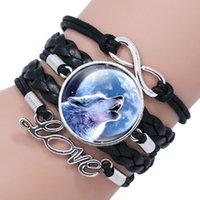 Tennis Black Color Gothic Wolf Moon Glass Dome Charm Multilayer Leather Bracelet Bangle Jewelry Boy Men Sirius Accessories