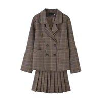 Spring Korean Chic Plaid Ladies Suits Casual Brown Stylish Blazer Dress Tailleur Femme Simple Retro Women Jacket Skirt Suit Women's & Blazer