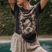 Everkaki Ретро Богемная футболка для женщин напечатанные Teestops Летние Boho T Рубашка Женщины Модный Кребез Одежда Женская Футболка 210331