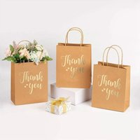 Gift Wrap 12Pcs Thank You Kraft Paper Bags Brown With Handles For Birthday Wedding Baby Shower Party Favors Shopping Bag