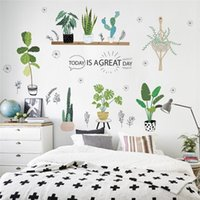 Wall Stickers Green Plants Cactus Flower Pot Sticker For Office Bedroom Baseboard Home Decor Pastoral Mural Art Pvc Decal