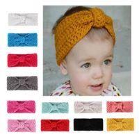 12 colors Kids girls Winter crochet Warm Knitted headbands Baby Xmas Turbon Knot Hairband Ear Warmer Children Princess hair accessories for toddler