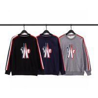 Мужчины женские капюшоны осенью и зимой Monclair мода марка пн вышивка маленькая значок ленты мужские свободные спортивные круглые шеи свитер Xiaohongshu