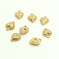10pcs Alliage simple Gold Heart Boucle d'oreille Charmes Collier plaqué or Bracelet petit accessoire pour pendentifs bijoux