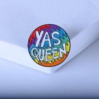 Fabbrica Fashion New Round Wave Color Ball Ball Lettera inglese Yas Queen Personalizzato Design Design Oil Drop Spilla