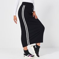 MAI&FUN New Summer Women's Elastic Black Skirt Drawstring Webbing Knitted Striped Long Casual Sexy All-Match Bag Hip Calf Skirt
