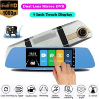 "7"" Touch Display RearView Mirror Dash Cam Car DVR Video Recorder Camera Dual Lens Full HD 1080P Auto Registrar With Rear Dashcam DVRs"