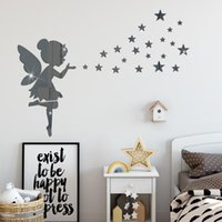 Wall Stickers Fairy Figure Elf Acrylic Mirror Sticker Gold Silver Baby Girl Bedroom Home Decoration