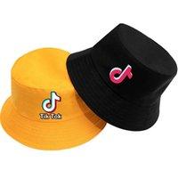 أطفال أزياء الصيف قبعة قبعات tiktok طباعة تيك توك مزدوجة الوجهين الصياد القبعات في الطفل بنات الشاطئ السفر عارضة قناع كاب G71DWA7