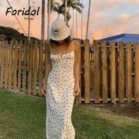 Foridol Strawberry Print White Chiffon Long Dress Women Spaghetti Strap Vintage Boho Summer Beach Maxi Dress Sleeveless Sundress X0521