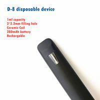 Disposable Vape pen Cigarettes Empty Device D-8 NPC T1 Disposables Ceramic Coil 1ml Vaporizer Pens With 2*2.2mm Filling Hole 0.6ohm Thick Oil closed system