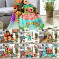 DHL Coberturas Cocomelon Crianças Dos Desenhos Animados Flanela Cobertor Verão NAP QUILT Cama de cama Cama de cama Coco Melão Tapete Banheiro Toalha 496