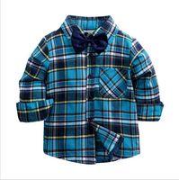 Toddler Boys Plaid Shirts Kid Boys Girl Long Sleeve Buttons Pocket Tops Shirt Turn Down Collar Blouse Casual