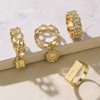 4 قطعة / المجموعة قفل إلكتروني عملة المرأة خواتم الزفاف العصرية الذهب الزركون زركون حجر زركون الأزياء والمجوهرات للنساء