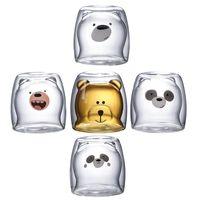 Cute Christmas Tree Mug Double Wall Glass Coffee Cups with Silocone Lid Snowflake Star Xmas Gift Wine Tea Milk Water Tumbler GWB7526