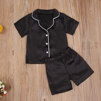 Clothing Sets Toddler Baby Black Satin Pajamas Infant Boy Short Long Sleeve Pants Sleepwear Casual Button Two-pieces Set
