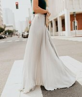 Skirts Fashion Women's High Waist Pleated Chiffon Long Maxi Skirt Full Length Solid Color Summer Swing Casual