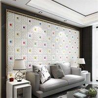 Fonds d'écran Plafond Decoration Stickers Papier auto-adhésif Foam Papier peint Salon Chambre à coucher Télévision Fond 3D Toit mural