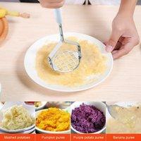 휴대용 콩 분쇄기 내구성 스테인레스 스틸 감자 Mashers 마늘 진흙 압력 퓌레 도구 홈 주방 마늘 masher ewb6724