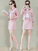 Two Piece Dress 2 Set Women Spring Autumn Jacket Coat And Skirt All Matching Casual Fashion Skirts Suits Pink Black Khaki