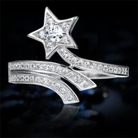 DHL T107 925 Sterling Silver Comet Micro Inlaid Cluster Rings with Full Diamond Personalized Movable Index Finger Female Fashion European and American Open Ring